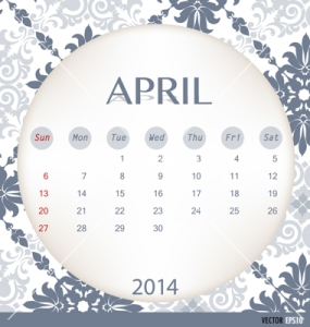 2014 calendar, vintage calendar template for April. Vector illus