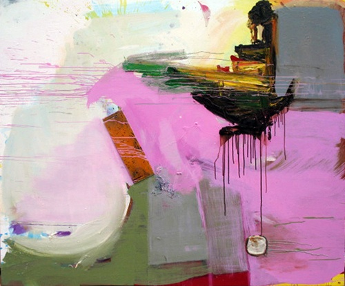 Menstrual Mountain II 2007 Oil, latex, acrylic, cardboard on canvas 60 x 72 x 2