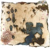 Eleuthra (study), wax, paper, images, on stitched, burned and stained cotton and silk, 12x13