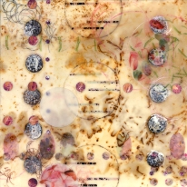 encaustic, rust printed silk, collage, branding, stenciled wax on panel